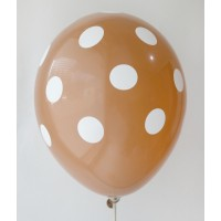 Brown - White Polkadots Printed Balloons