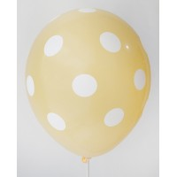 Golden Yellow - White Polkadots Printed Balloons