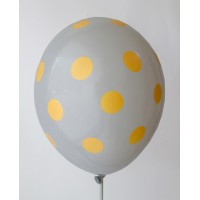 Gray - Golden Yellow Polkadots Printed Balloons