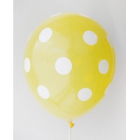 Lemon Yellow - White Polkadots Printed Balloons