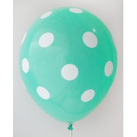Light Green - White Polkadots Printed Balloons