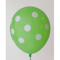 Lime Green - White Polkadots Printed Balloons