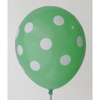 Mint Green - White Polkadots Printed Balloons
