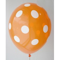 Orange - White Polkadots Printed Balloons