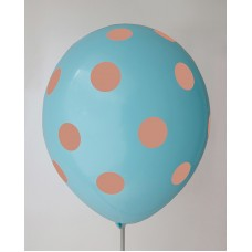 Pastel Blue - Orange Polkadots Printed Balloons