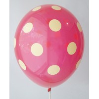 Red - Lemon Yellow Polkadots Printed Balloons