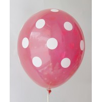 Red - White Polkadots Printed Balloons