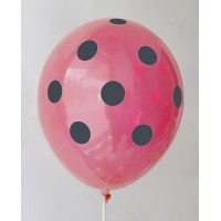 Red AA - Black Polkadots Printed Balloons