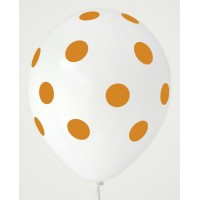 White - Golden Yellow Polkadots Printed Balloons