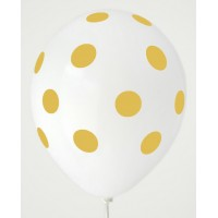 White - Lemon Yellow Polkadots Printed Balloons