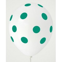 White - Mint Green Polkadots Printed Balloons