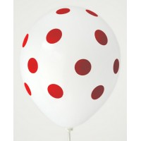White - Red Polkadots Printed Balloons