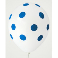 White - Royal Blue Polkadots Printed Balloons