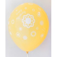 Golden Yellow Happy Birthday All Around Printed Balloons