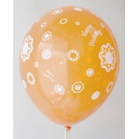 Orange Happy Birthday All Around Printed Balloons