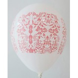 White - Red Batik Printed Balloons