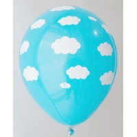 Dark Blue Clouds Design Printed Balloons