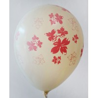 Cream Metallic Flowers Printed Balloons