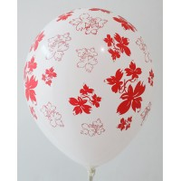 White - Red Flowers Printed Balloons