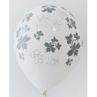 White - Black Flowers Printed Balloons
