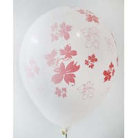 White - Pink Flowers Printed Balloons