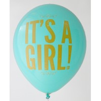 Azure It's A Girl Printed Balloons