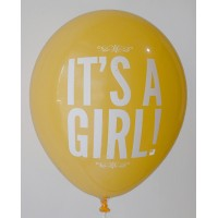 Golden Yellow It's A Girl Printed Balloons