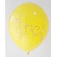 Lemon Yellow It's A Girl Printed Balloons
