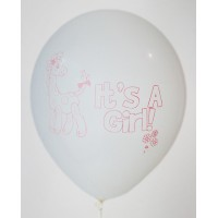 White It's A Girl Printed Balloons
