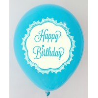 Dark Blue Happy Birthday 1 Side Printed Balloons