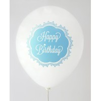 White Pastel Blue Happy Birthday 1 Side Printed Balloons