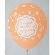 Orange Happy Birthday AR Gorgeous Printed Balloons