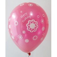 Red Metallic Happy Birthday All Around Printed Balloons