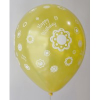 Yellow Metallic Happy Birthday All Around Printed Balloons