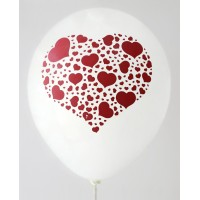 White Hearts Printed Balloons