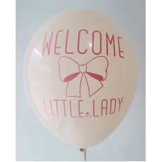 Blush Welcome Little Lady Printed Balloons