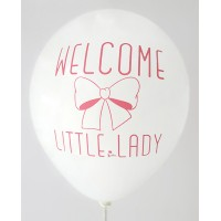 White Welcome Little Lady Printed Balloons