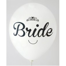 White Metallic Bride Design Printed Balloons