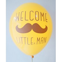 Golden Yellow Welcome Little Man Printed Balloons