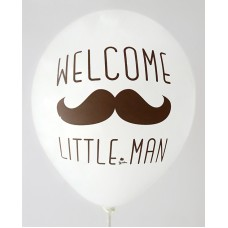 White Welcome Little Man Printed Balloons