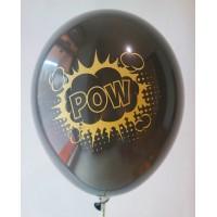 Black Metallic Pow Design Printed Balloons