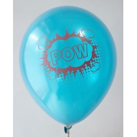Dark Blue Metallic Pow Design Printed Balloons