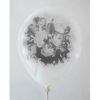 Clear Crystal - Black Rose Design Printed Balloons