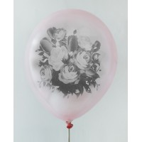 Pink - Black Rose Design Printed Balloons