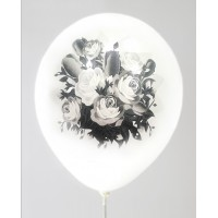 White - Black Rose Design Printed Balloons