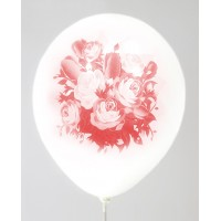 White - Pink Rose Design Printed Balloons