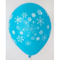Dark Blue Snow Flakes Printed Balloons