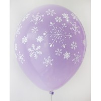 Lavender Snow Flakes Printed Balloons