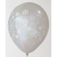 Silver Snow Flakes Printed Balloons