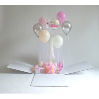 Plain Surprise Box Personalized Bubble + Sculture + Helium